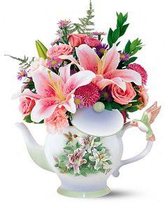 Teleflora's Lena Liu Hummingbird Teapot Bouquet Flowers, Teleflora's Lena Liu…