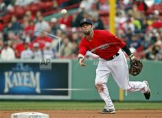Rays Red Sox Baseball Boston Red Sox second baseman Dustin Pedroia flips the ball to the shortstop for a double play against the Tampa Bay Rays during the first baseball game of a doubleheader at Fenway Park in Boston, Thursday, May 1, 2014. (AP Photo/Elise Amendola)