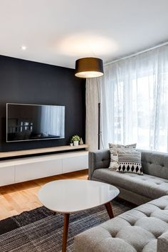 38 amazing living room tv wall decor ideas and remodel 10 Home Living Room, Living Room Designs, Living Room Furniture, Furniture Nyc, Tv On Wall Ideas Living Room, Living Room Curtains, Small Living Room Ideas With Tv, Living Room Decor Pieces, Dark Walls Living Room