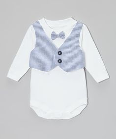Take a look at this Caught Ya Lookin' Blue Seersucker Vest & Bow Tie Bodysuit - Infant on zulily today!