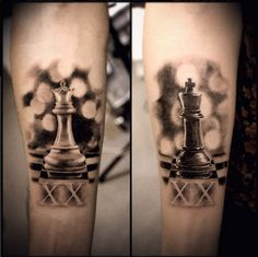 King and queen chess pieces tattoos