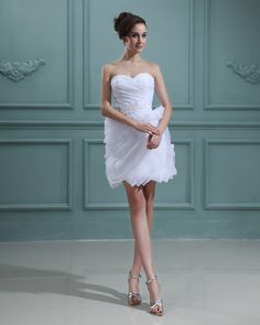 Amylinda Taffeta Sleeveless Ruffles Sweetheart Short & Mini Wedding Dresses