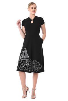 I <3 this Sail embellished cotton knit dress from eShakti