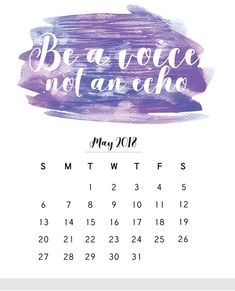 May 2018 Monthly Calendar With Quote