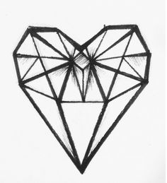 Glass diamond, tattoo, diamond, minimalist, geometric heart