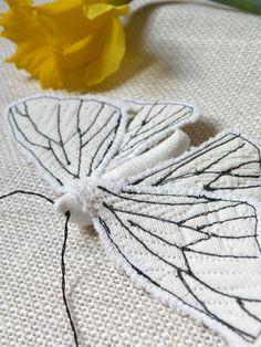 Handmade Fabric Moth Brooch - Textile Lepidoptera -
