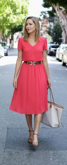 coral midi dress, nude heeled ankle strap sandals, brown waist belt, checkered tote handbag {casual friday work dress} {wayf, b-low the belt, louis vuitton}