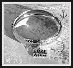 US Navy Mom bangle bracelet by Son and Sea FREE US by sonandsea, $22.00