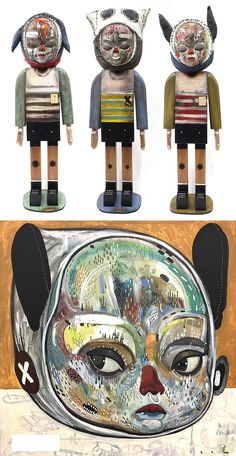 Colossal Art, Wooden Figurines, Animal Ears, Creepy, Contemporary Art, Presents, Painting, Character, Manualidades