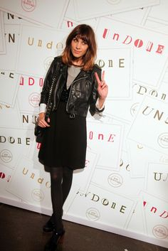 Alexa Chung style. in little black dress and leather jacket.