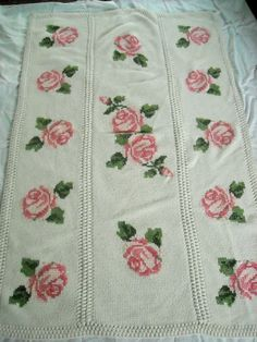 cross stitch crocheted afghan with pink roses by EMWvintage