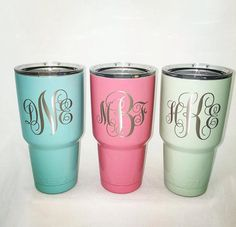 Powder Coated 30oz YETI Rambler by CavellaDesign on Etsy https://www.etsy.com/listing/250175264/powder-coated-30oz-yeti-rambler