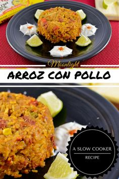 This Latin America rice and chicken dish can be made in the slow cooker.  An easy, healthy dish that is great for a big group! #slowcookerchicken #arrozconpollo #chickenthighrecipes