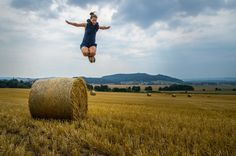 Hay bale jumping