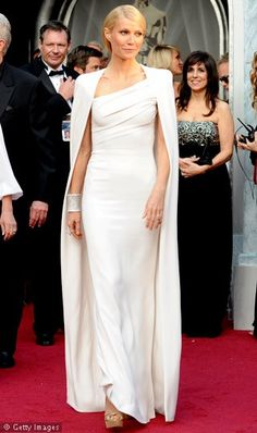 My Fave: Gwyneth Paltrow's Oscars 2012  The actress stepped out in a stark white Tom Ford gown with matching cape.