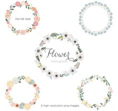 CLIP ART  Flower Monograms  for commercial and personal use