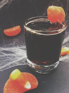 Spodee Bloody Shot! Combine equal parts Spodee wine and San Pellegrino Blood Orange soda in a shot glass, garnish with orange candy wedge. #halloween #recipe #halloweendrink #halloweenshot