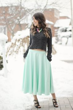 Double Rainbow  #Winter Fashion Women #Stephanie Sterjovski Outfit #Casual Preppy Streetstyle #Cropped Knit Sweater #Mint Pleated Skirt #Mint Maxi Skirt #Pleated MAxi Skirt #Strap Heeled Sandals #Michael Kors Sandals