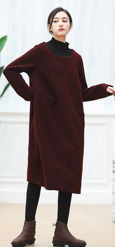d20e7053a2 warm burgundy knit dresses oversized O neck sweater casual baggy dresses  pullover sweater