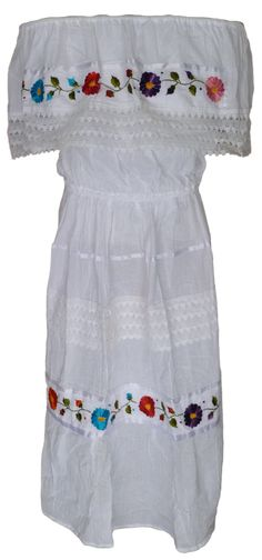Mexican Floral Crochet Dress - White