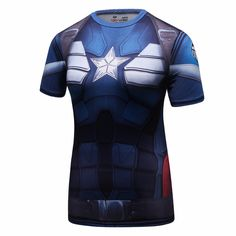 Captain America Printed T-shirts Women Compression Shirt Slim Short Sleeve Cosplay Halloween Costume For Ladies Tops Female Captain America Birthday, Captain America Costume, Anniversaire Captain America, Compression T Shirt, America Girl, Straight Jacket, Cosplay, Birthday Shirts, Shirts For Girls