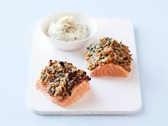 Salmon with nutty crust and cauliflower pure Fish Dinner, Cauliflower, Salmon, Seafood, Pure Products, Dinners, Photography, Kitchens, Pisces