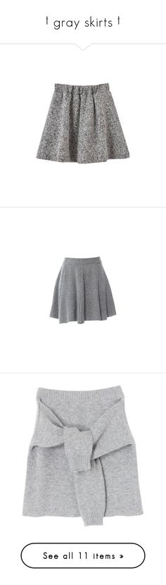 """† gray skirts †"" by ulzz-nara ❤ liked on Polyvore featuring skirts, bottoms, chicnova, faldas, high waisted circle skirt, grey pleated skirt, skater skirt, pleated skirt, knee length pleated skirt and mini skirts"