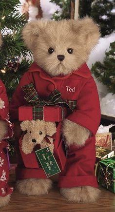 Christmas Teddy bear with tartan plaid bow