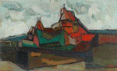 São Mamede - Art Gallery  Justino Alves S/ Título (paisagem c/ casario) 1967 Oil x Wood 20 cm x 33 cm