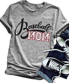 91787be26 Amazon.com: LONBANSTR Women Baseball Mom Letter Print T Shirt Short Sleeve  Tops Tee