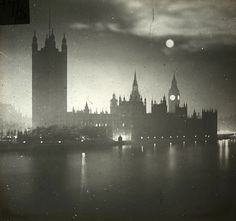 Fantastic, spooky sight of Ben + Houses of Parliament.