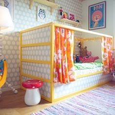 IKEAs säng Kura som vi målat och tapetserat.                                                                                                                                                                                 More