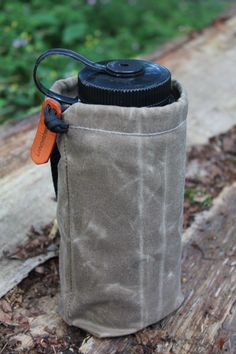 """Handmade Field Tan Waxed canvas Ditty Bag with 2"""" Belt Strap for Water Bottle, Bushcraft, Camping and the Great Outdoors. by PNWBushcraft on Etsy https://www.etsy.com/listing/452140518/handmade-field-tan-waxed-canvas-ditty"""