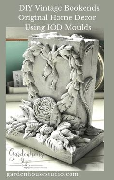Shabby Chic Bookends with IOD Moulds is a tutorial for making bookends with IOD moulds, IOD Air dry clay and pieces of left over wood. Dressing Table Furniture Design, French Country Crafts, Art Deco Furniture, Plywood Furniture, Modern Furniture, Picture Frame Decor, Diy Home Accessories, Iron Orchid Designs, Diy Silicone Molds