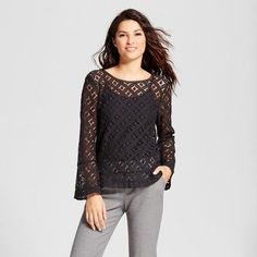 A New Day Women's Lace Bell Sleeve Blouse  Fashion, Dream, Girl, Love, Pretty, Spring, Summer, Fall, Autumn, Winter, Sweet, Make Up, Model, Model, Style, Cute, Forever, Beautiful, Lovely, Want, Heart, Awesome, Unique, Hipster, Pretty, Dreams, Simple, Outfit, Clothes, Accessories, Color #ad