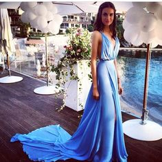 Sky Blue Deep V Neck Prom Dresses  http://banquetgown.storenvy.com/products/16044747-sky-blue-deep-v-neck-prom-dresses-2016-side-split-backless-chiffon-summer-se