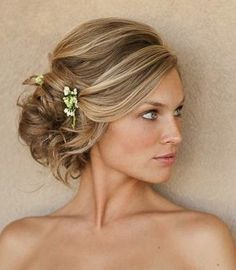 bridesmaid hairstyles side swept - Google Search