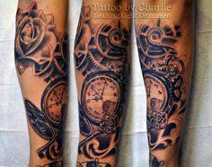 Pocket watch sleeve tattoo in progress by gettattoo.deviantart.com on @deviantART