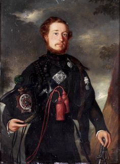 Portrait of an officer of an East India Company Rifle Regiment, signed on the back W. Melville pinxit 1846, Simla.