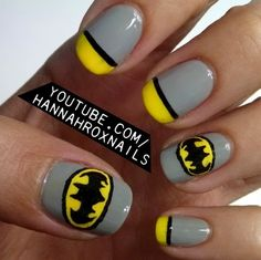 Batman Nail Art J.D. needs to do this for me :D