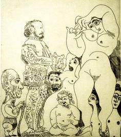 Pablo Picasso - Self Portrait with a Cane with a Comedian in Costume, Cupid, and Women, 1968