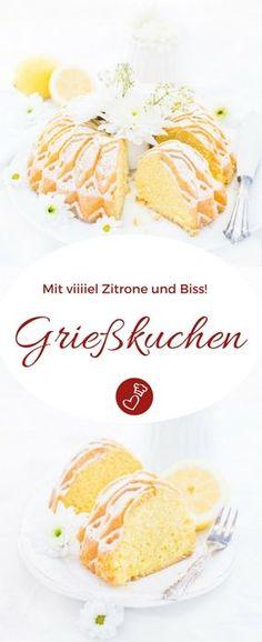 Kuchen Rezepte, Zitronen Rezepte: Grießkuchen Rezept mit Biss und ganz viel Zitrone von herzelieb. Dieser Kuchen hält sie locker ein paar Tage und er ist ganz einfach zu backen. #kuchen #zitrone #foodblog