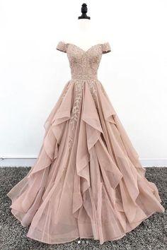 Elegant off shoulder lace long prom dress, lace evening dress