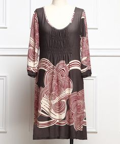Love this Charcoal & Red Swirl Scoop Neck Dress - Plus on #zulily! #zulilyfinds