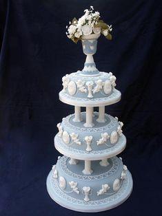 A wedding cake that looks like Wedgewood. Beautiful!!