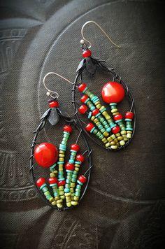 CUSTOM ORDER THERESA by YuccaBloom on Etsy #abalorios #abaloriosplata #abaloriosbisuteria #bisuteria #peru Seed Bead Earrings, Gemstone Earrings, Beaded Earrings, Handmade Beads, Earrings Handmade, Wire Jewelry, Jewelry Crafts, Jewelry Art, Beaded Jewelry