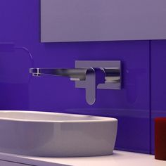 Colour / feature wall / Caroma Track Wall Basin Mixer.   http://www.caroma.com.au/bathrooms/mixer-taps/track/track-wall-basin-mixer