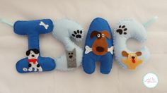Puppy dog baby boys nursery /personalized by CutiecraftsbyAndrea Felt Name Banner, Felt Letters, Name Banners, Felt Wall Hanging, Nursery Bunting, Puppy Gifts, Dog Baby, Cute Names, Puppy Names