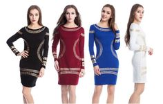 Women European Style Dresses Bronzing Blue Print Bodycon Long Sleeve Evening Party 2016 Plus Size Pencil Mini Dress S Xxl Ljy1 Dress Shirt Corset Dress From Xinying2016, $18.25| Dhgate.Com