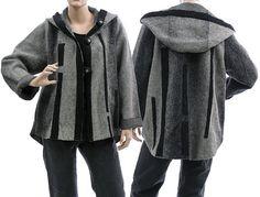 Cute artsy boho hooded jacket, coat, boiled wool in grey / lagenlook - medium or plus sized women M L, US size 10-14  / Spring Summer Autumn...